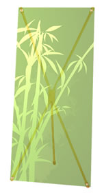 """Details zu Greenline-X-Banner """"Bambus""""  mit Bedruckung"""