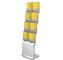 mobile Prospektständer mit 2,4,6 und 8 Fächern, zusammenklappbar aus Aluminium, Acryl und Bambus