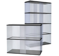 runde und viereckige Ausstellungsvitrinen aus Glas oder Acryl