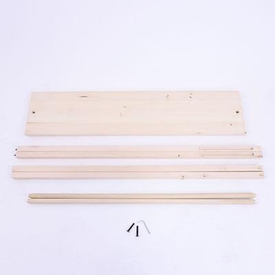 """die Holzstangen und der Holzfuss der Trennwand (Holzbanner """"Wood"""")"""