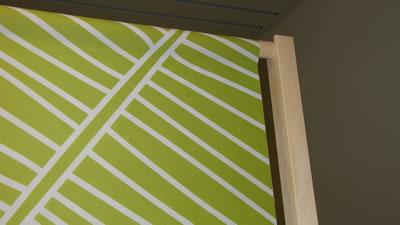 """Einzelteile der Trennwand mit grüm-weißem Stoff (Holzbanner """"Wood"""")"""